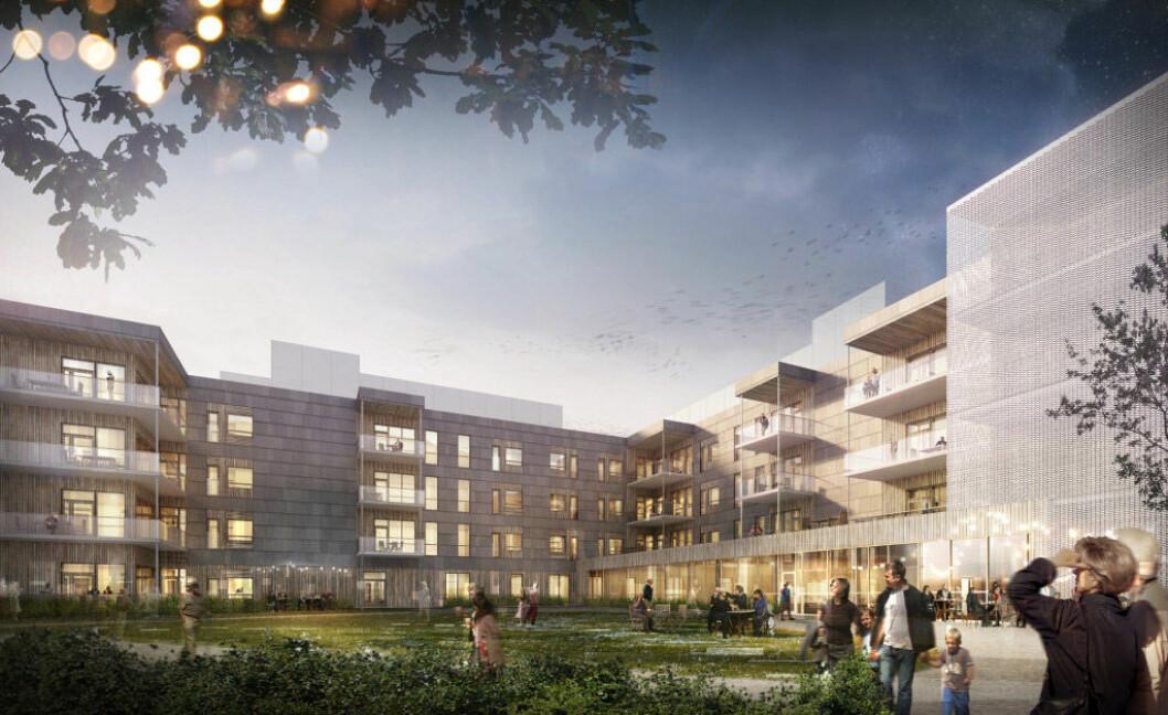 Ullerud helsebygg i Frogn kommune blir det største byggeprosjektet i Frogn kommunes historie, og det største sykehjemmet i Norge massivtre. Illustrasjon: Jostein Rønsen Arkitekter AS / Cad Man