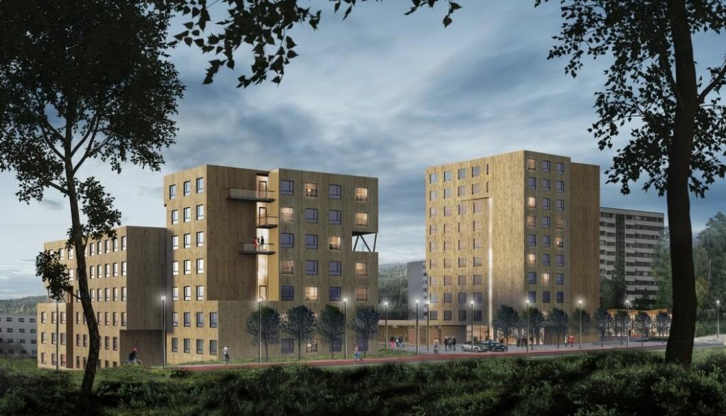 Delegasjonen besøkte blant annet de nye studenthusene på Kringsjå Studenby, som er under bygging. (Illustrasjon: AT Plan og Arkitektur)
