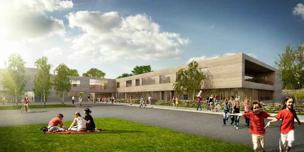Arkitekt Lars Haakanes i arkitektfirmaet Ola Roald AS tegnet det nye skolebygget. Illustrasjon: Ola Roald AS.