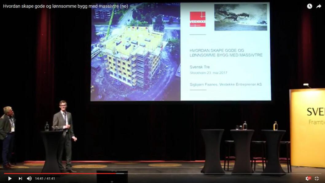 Hvordan skape gode og lønnsomme bygg med massivtre? Sigbjørn Faanes i Veidekke og Terje Strand i Woodcon forteller om sine erfaringer.