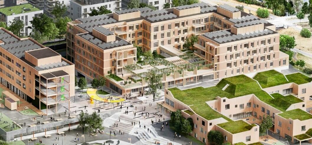 Det er Veidekke sammen med blant andre Arkitema Architects som skal skape liv på Oksenøya på Fornebu. (Illustrasjon: Veidekke / Arkitema Architects)