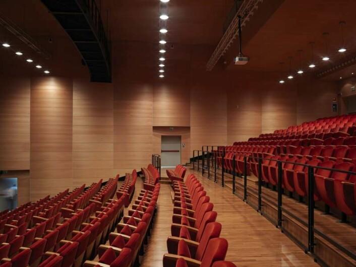 Trysil Antibrann-plater er levert til italienske Teatro Puccini med klarlakkert finér av bøk. (Foto: Trysil Interiørtre)
