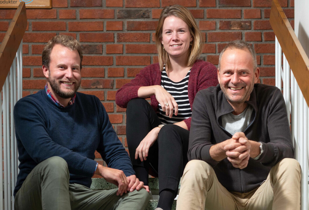Fra venstre: Ove Staubo Munthe-Kaas, Stine Lønbro Bertelsen, Knut Amund Skatvedt. (Foto: Knut Werner Lindeberg Alsén / Treteknisk)