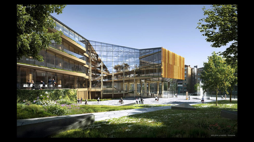 Finansparken, Sparebanken 1 sitt hovedkontor. (Illustrasjon: SAAHA arkitekter og Helen & Hard)