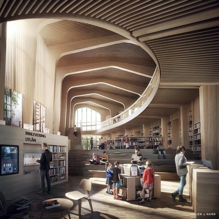Samling Bank-, bibliotek- og leilighetsbygg i Nord-Odal. (Foto: Helen & Hard)