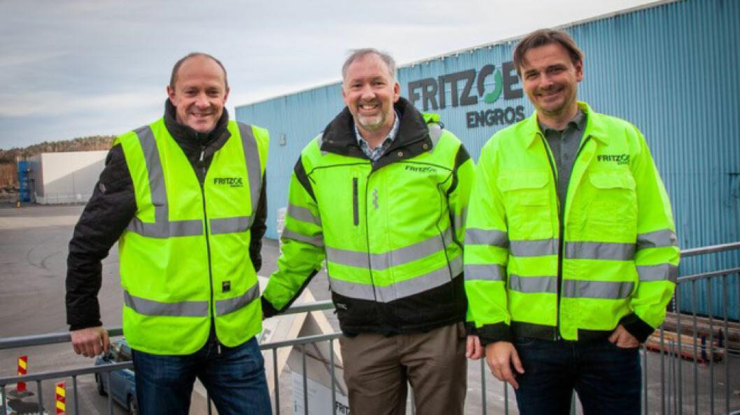 Fra venstre: Ole Schei Hansen, salgsdirektør industri i Fritzøe Engros, Ole Olsen, styreleder i Norske Trevarer og Espen Randsted, administrerende direktør i Fritzøe Engros. (Foto: Norske Trevarer)