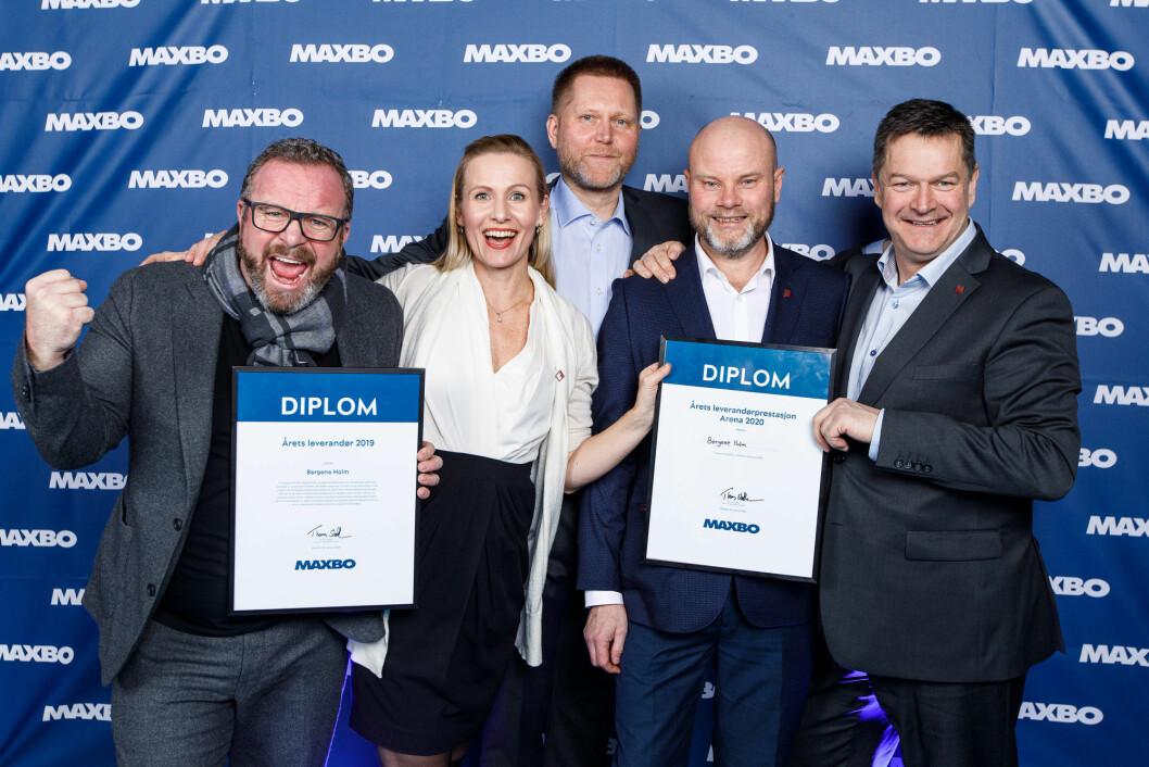 Bergene Holm ble hedret som Maxbos beste leverandør i helgen, under Arena 2020. Fra venstre: Sondre Kittang, Hege Voll Midtgaard, Hans Monsebakken, Lars Gulbrandsen og Bjørn Terje Walbækken, alle fra Bergene Holm. (Foto: Killian Much)