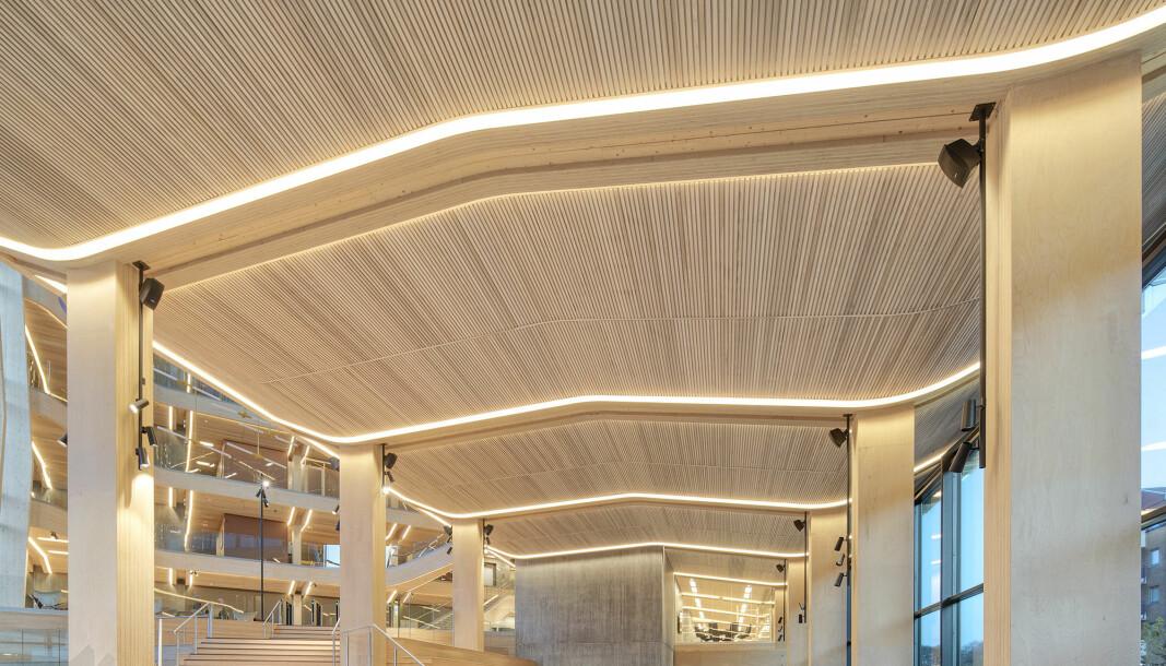 I 2019 åpnet Finansparken i Stavanger, et av Europas største næringsbygg i tre, med bærekonstruksjoner, himlinger og innredningsløsninger levert av Moelven.