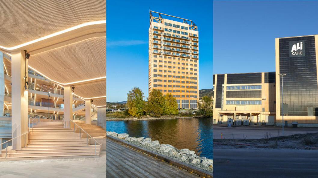 Fotomontasje: Finansparken (foto: Sindre Ellingsen), Mjøstårnet (foto: Voll Arkitekter AS + Ricardo Foto) og JJK Kaffebrenneri (foto Astrup & Hellern)