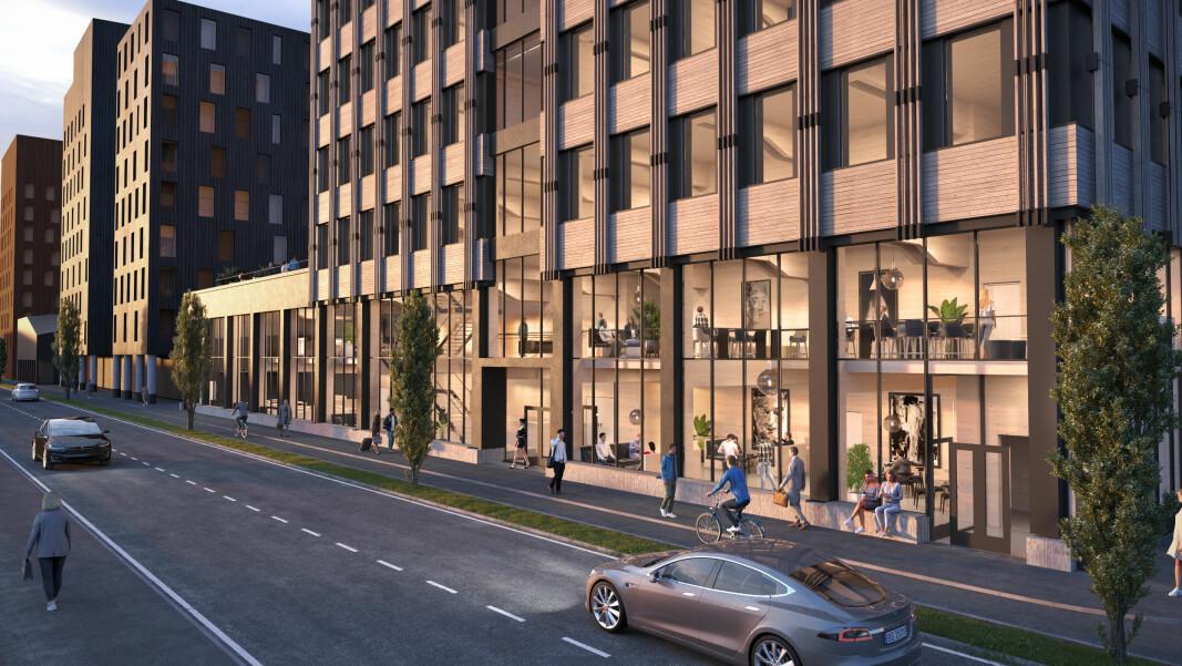 Slik blir Vestaksens nye kontorbygg i Dr. Hansteins gate i Drammen – et rent trebygg i ti etasjer.