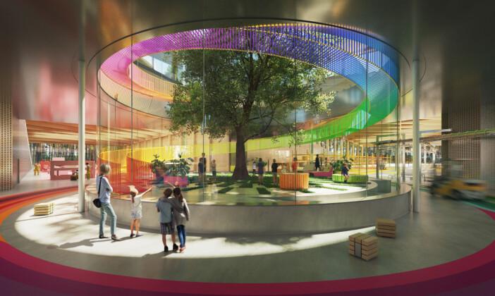 Vestres kommende møbelfabrikk på Magnor - designet av BIG Bjarke Ingels Group. Illustrasjon fra Vestre