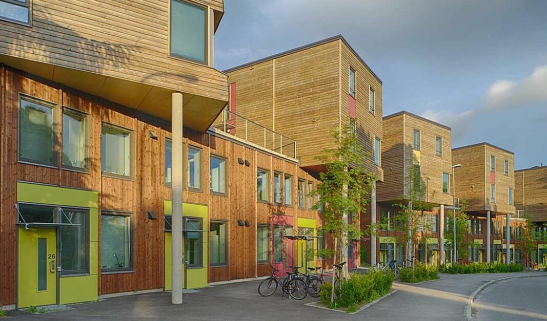 Byggforskserien gir kunnskap for å vurdere og planlegge bygging med moduler. Her er et eksempel på modulbygg - Berg studentby i Trondheim. Arkitekt: Skibnes Arkitekter AS.