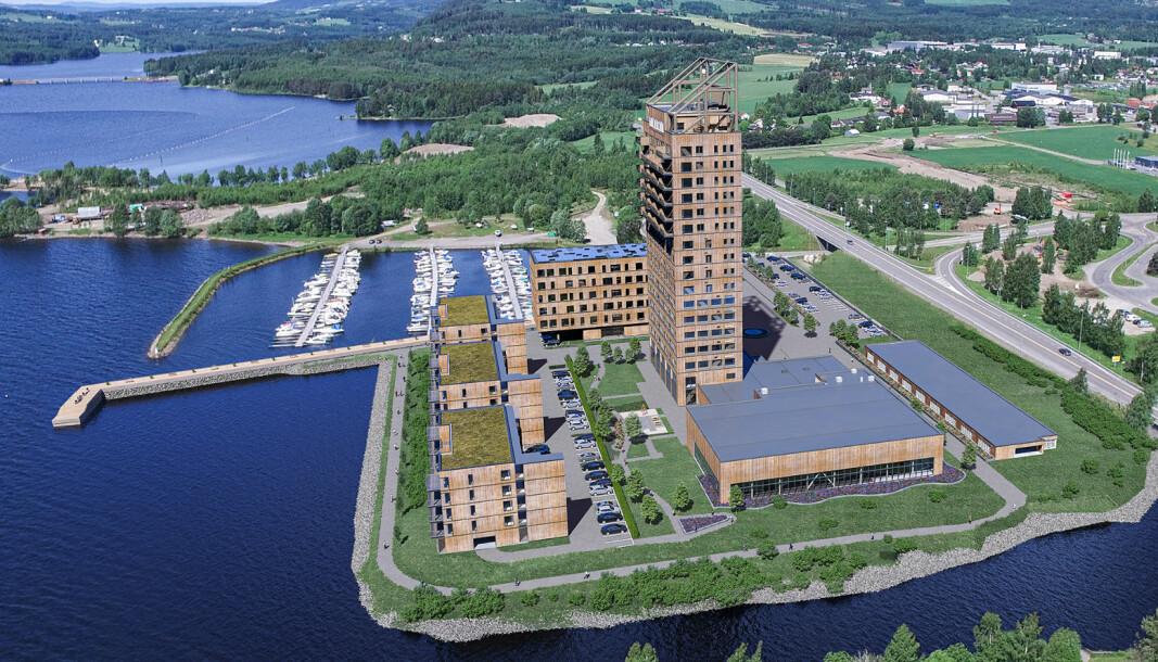 Slik vil Mjøskanten, med Mjøstårnet, Mjøsbadet, Skibladnerbrygga, samt det nye næringsbygget og leilighetsbyggene, se ut.