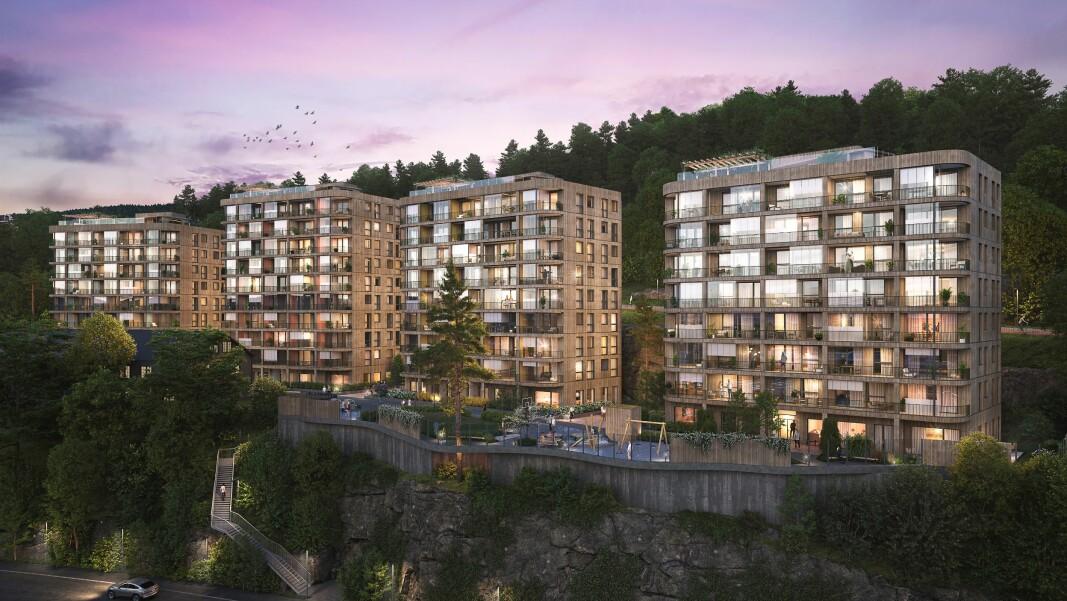Fyrstikkbakken 14 er FutureBuilts første kommersielle boligprosjekt i massivtre.