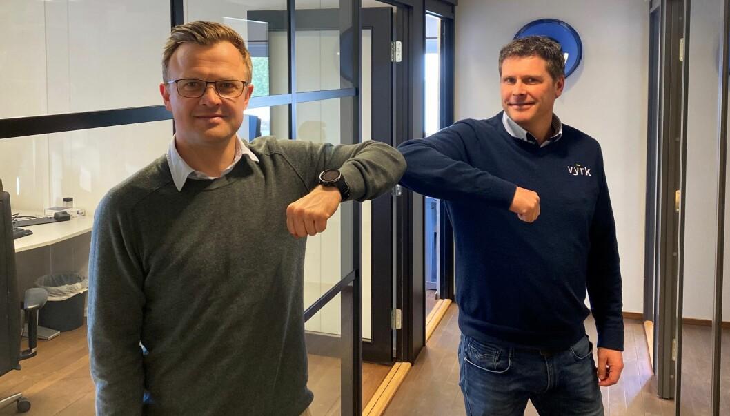 Fv. Konserndirektør i Skanska Norge, Kristian Brende og Vyrk-gründer og salgssjef, Steinar Lyseng.