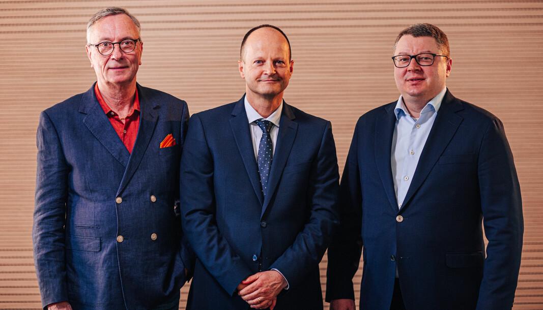 Fra venstre: Leif Erlandsson, Frank Jöst og Allan Flink, administrerende direktører ved Microtecs avdelinger i henholdsvis Sverige, Italia og Finland.